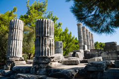 Temple of Athena ruins in Priene, Turkey Stock Photos