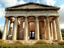 Temple in Athens. Temple of Hephaestus in the city of Athens stock image