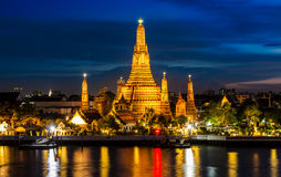 Temple. Atmosphere thai temple in night Royalty Free Stock Images