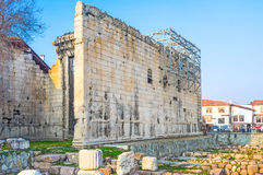 The Temple of Augustus and Rome. The ruins of the Temple of Augustus and Rome located in the city centre, Ankara, Turkey royalty free stock image