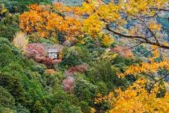Temple with autumn foliage colors, Arashiyama. Ancient wooden temple with autumn foliage colors at the mountain of Arashiyama, Kyoto, Japan. Here is famous for Royalty Free Stock Images