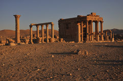 The Temple of Ba'al-Shamin. The most striking building in Palmyra is the huge temple of Ba'al, considered the most important religious building of the first Royalty Free Stock Image