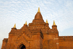 Bagan Temples with Dramatic Light. A temple in Bagan colored with dramatic lighting at sunset in Myanmar Royalty Free Stock Photos