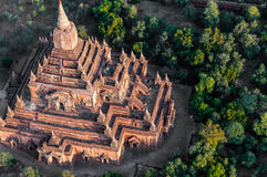 Temple in Bagan Myanmar. Temple seen from a balloon in Bagan Myanmar Royalty Free Stock Image