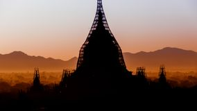 Temple of Bagan. The sun is rising over the temples of Bagan Royalty Free Stock Photo