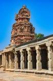 Temple of Bala Krishna in Hampi, Karnataka, India. Crumbling stone statues and bas-reliefs at the top of the temple of Bala Krishna in Hampi, Karnataka, India Stock Image