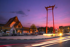 Temple of bangkok. And red sky Stock Photography