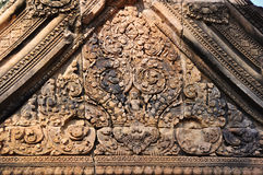 Indra carving in Temple Banteay Srei, Angkor Royalty Free Stock Images