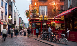 Temple Bar. Evening shot taken of the famous dublin pub Temple Bar which is situated in the city's pub and restaurant district. Live music daily royalty free stock image