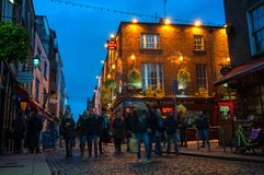 Temple bar at night in Dublin, Ireland Stock Photography