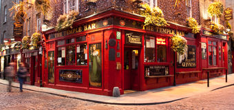 Temple Bar Pub Dublin. Evening shot taken of the famous dublin pub Temple Bar which is situated in the city's pub district. Live music daily stock photography