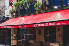 The Temple Bar pub in Dublin, arguably the most popular traditio. DUBLIN, IRELAND - April 12th, 2018: the Temple Bar pub in Dublin, arguably the most popular Royalty Free Stock Photography