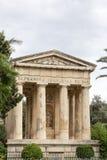 Temple in Barakka Gardens in capital of Malta - Valletta Stock Image