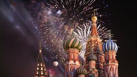 Temple of Basil the Blessed and fireworks in honor of Victory Day celebration WWII, Moscow, Russia