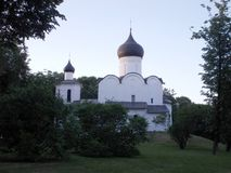 Church of Basil on mount in Pskov at sunset time royalty free stock images