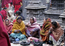 Temple beggars women Royalty Free Stock Images