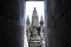 Temple behind walls on Prambanan Royalty Free Stock Photography