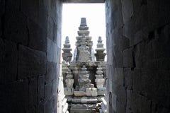 Temple behind walls on Prambanan royalty free stock photography