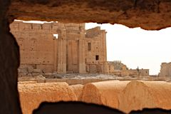 Temple of Bel. Ruins of the ancient Semitic city of Palmyra shortly before the war, 2011 Royalty Free Stock Photos