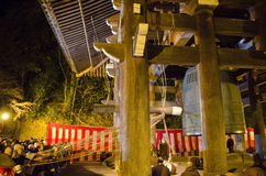 Temple bell at Chion-in at New Years Eve stock photography