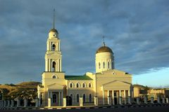 Temple with a bell tower in the Russian province Stock Photo