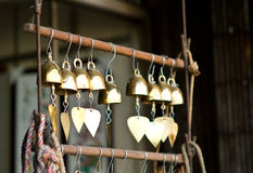 Temple bells. In a buddhist temple stock image