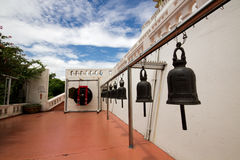 Temple bells hanged at Golden Mount temple Royalty Free Stock Photos