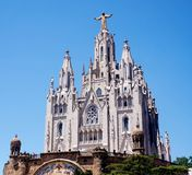 Temple of the Blazing Heart on the hill of Tibidabo in Barcelona stock image
