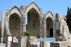 Temple of the Blessed Virgin Burgo. Mediterranean old architecture style in Rhodes city, Greece Stock Images