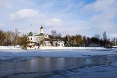 Temple of Blessed Xenia of Peterburg on the South Bug River in winter Royalty Free Stock Images