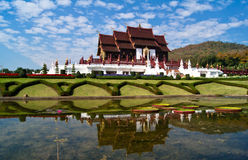 Temple on blue sky background in thailand Royalty Free Stock Photo