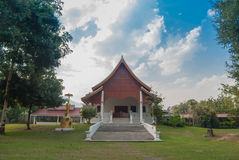 Temple and blue sky with white cloud. A house for Buddhist priests in a monastery royalty free stock images