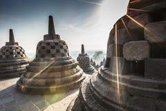 Temple Borobudur de Buddist sur le fond de coucher du soleil Yogyakarta Java, image stock