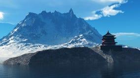 Temple bouddhiste dans le rendu des montagnes rocheuses 3d Photo stock