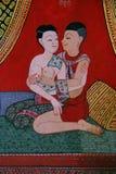 Temple bouddhiste mural Thaïlande Photos libres de droits