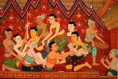 Temple bouddhiste mural Thaïlande Image libre de droits