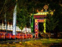 Temple bouddhiste tibétain de Panillo Vajrayana en Espagne à l'aube Photos libres de droits