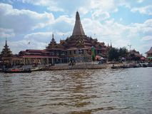 a temple in burma at the river stock photography