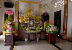 Temple at the Can tho -  Vietnam. Statue of Buddha in front of the temple in Can-tho Vietnam Royalty Free Stock Image