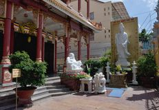 Temple at the Can tho -  Vietnam. Statues of Buddha before the monastery in Can-tho city Vietnam Stock Image