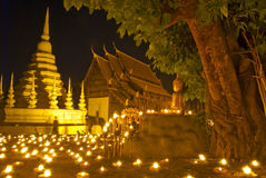 Temple and candle in Chiangmai Thailand Royalty Free Stock Photo