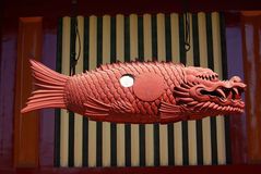 Temple carvings carp Royalty Free Stock Photo