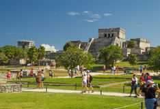 Temple The Castle in archaeological site Tulum, Mexico. The most famous building of ancient Mayan city Stock Photography