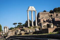 The Temple of Castor and Pollox in the Ancient Forum in Rome Italy. Rome Italy, the Eternal city, which has been a destination for tourists since the times of Stock Photos