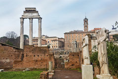 Temple of Castor and Pollux and antique statues at a temple of the Vestal Virgins Stock Photo