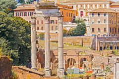 Temple of Castor and Pollux in Rome, Italy Stock Images