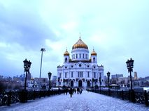 Temple. Cathedral Cathedral Church of Christ the Saviour is the Orthodox Cathedral of the Russian Orthodox Church, not far from the Moscow Kremlin, on the left Royalty Free Stock Images