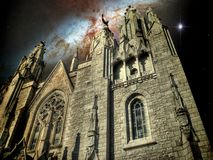 Temple Cathedral and the Cigar Galaxy (Elements of this image fu royalty free stock images