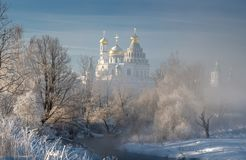Temple, cathedral, cross, Orthodoxy, icons, dome, winter, snow royalty free stock images