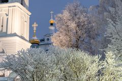 Temple, cathedral, cross, Orthodoxy, icons, dome, winter, snow stock photo